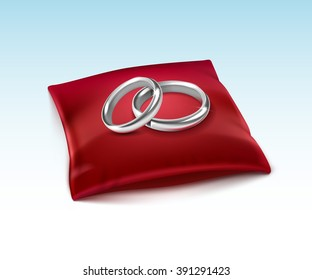 Vector Silver Wedding Rings  on Red Satin Pillow Isolated on White Background