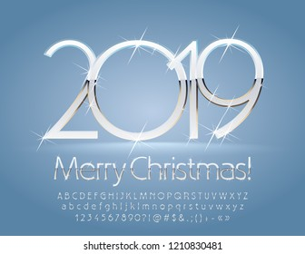 Vector silver and white Merry Christmas 2019 Greeting Card. Chic Alphabet with sparkling stars set of Letters, Symbols and Numbers. Unique stylish Font.