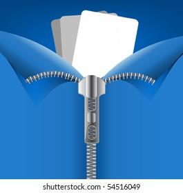 vector silver zipper opened