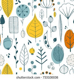Vector simple autumn pattern with leaves, seeds and berries. Scandinavian style. linear sketch, bright gay children's print