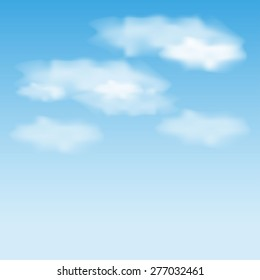 Vector simple background with blue sky and clouds.
