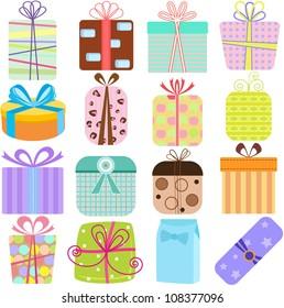 Vector Simple Birthday Gift Box Present Stock Vector Royalty Free