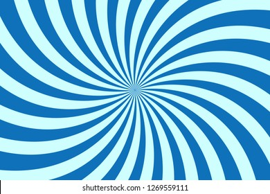 Vector simple blue background. Spiral stripes in retro pop art style