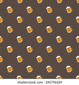 Vector simple bright beer mug seamless pattern