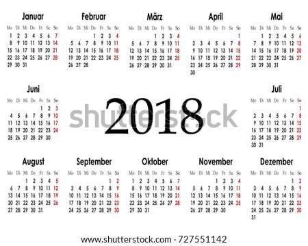 vector simple calendar 2018 on german language week starts from monday