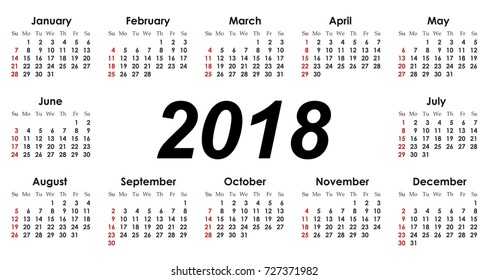 Vector simple calendar 2018. Week starts from Sunday.