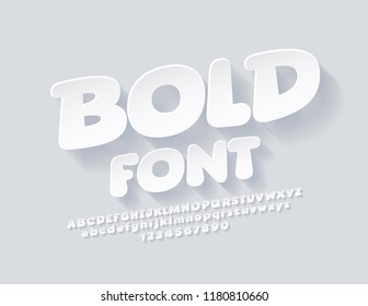 Vector Simple Children Font with Shadow. Playful White Font