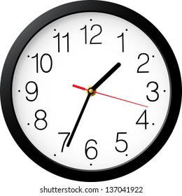 Vector simple classic black and white round wall clock isolated on white