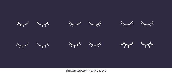 Vector simple closed eyes icon set. Flat design girly white eyelash on black background.