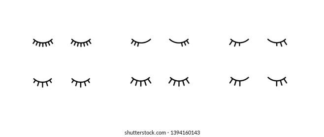Vector simple closed eyes icon set. Flat symbol design girl black eyelash on white background.
