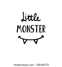 Vector simple cute illustration Little Monster lettering. Halloween design. Baby emblem. Fabric textile print