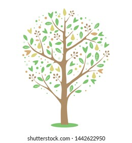 Vector simple drawing of pear tree.