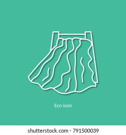 Vector simple eco related outline hydropower icon. Isolated design element in trendy paper art 3d style. Eco concept for print or infographic. Hydropower and renewable energy concept.
