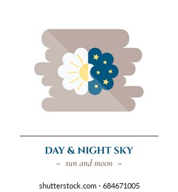 Vector simple flat icon for well healthy night sleep isolated on white background. Sleep nature moon and stars in the dark sky and sun in light sky. Changing of day and night.