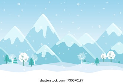Vector Simple flat illustration of Winter Mountains landscape with trees, pines and hills.