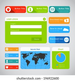 Vector simple flat modern UI design website elements - member login, download, world map, statistics and dropdown buttons. For smartphones, games, and tablets.