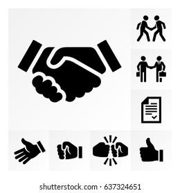 Vector simple handshake icon set.