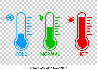 vector simple icon, Liquid Thermometer, cold normal and Hot at transparent effect background