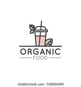 Vector Simple Icon Style Illustration Logo for Organic Shop or Market, Minimal Simple Badge with Leafs and Fresh Smoothie Drink