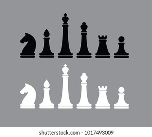 Vector simple illustration of Chess figures black and white version on gray background