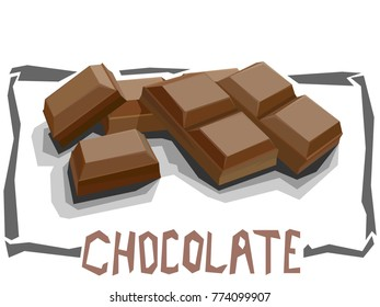 Vector simple illustration of chocolate bar in angular cartoon style.