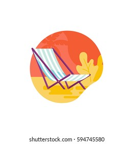 Vector simple illustration and icon in trendy flat linear style - summer and vacation concept - beach chair