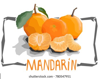 Vector simple illustration of mandarins with slices in angular cartoon style.