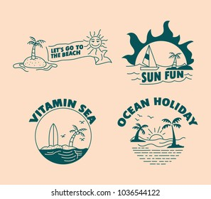 Vector simple illustration of ocean holiday theme