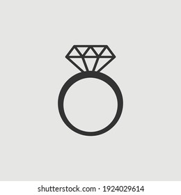 Vector Simple Isolated Diamond Ring Icon