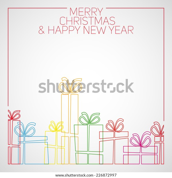 Drawings Of Christmas Presents.Vector Simple Line Drawing Christmas Card Stock Vector