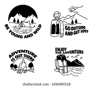 Vector simple line illustration for camping hiking theme