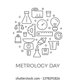 Vector Simple Linear modern Metrology Day Greeting Card Design