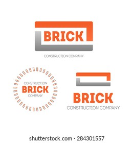 Vector simple logo for construction company in form of brick