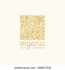 Vector simple logo design template in trendy linear style - abstract emblem for floral shops or studios, wedding florists, creators of custom floral arrangements - square with flowers and leaves