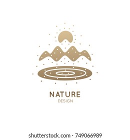 Vector simple logo of nature elements. Linear icon of landscape with mountains, river, sun - business emblems, badge for a travel, tourism and ecology concepts, health and yoga Center.