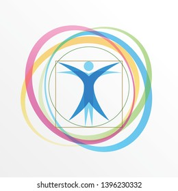 Vector simple logo stylized Vitruvian Man with orbiting rings
