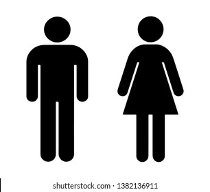 Vector simple male and female black icon