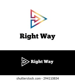 Vector simple outline arrow in triangle negative space logotype