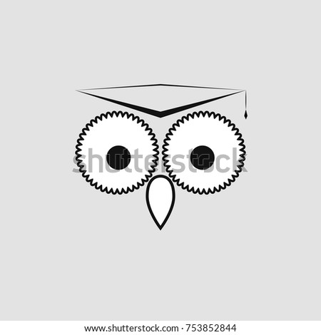 Vector Simple Owl Logo With A Square Academic Hat Learning And Education Template