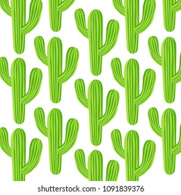 Vector simple pattern with cactuses. Perfect for wallpaper, gift paper and summer greetings. Vector illustration.