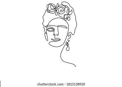 vector simple picture of mexican woman's face