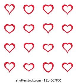 Vector simple red heart icons collection love symbols