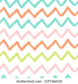 Vector simple seamless pattern with crayons draw color zigzag. Bright colors.