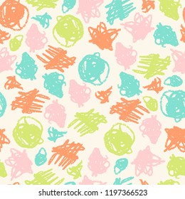Vector simple seamless pattern with crayons draw color scribbles. Bright colors.