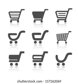 Vector simple shopping cart, trolley with shadow, item, button