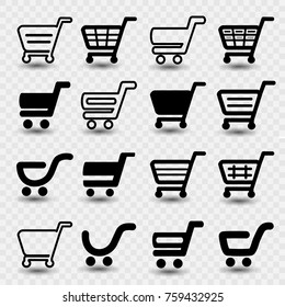 Vector simple shopping cart, trolley with shadow on transparent background, item, button
