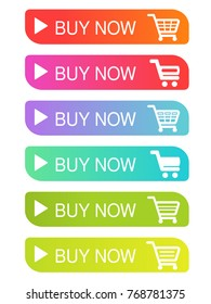 Vector simple shopping cart, trolley. Menu item buy now. Coloured buttons.