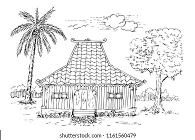 vector simple sketch of Traditional Joglo House, central java, indonesia