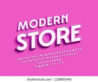 Vector Simple Style Logo Modern Store. White Beveled Font. Alphabet Letters, Numbers and Symbols