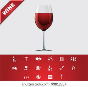Vector simple wine production and drinking icon set
